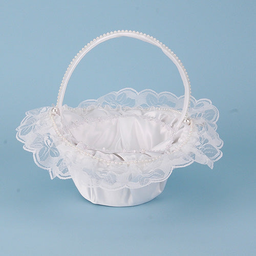 Flower Girl Baskets White ( 10 Inch x 8 Inch ) - 408701