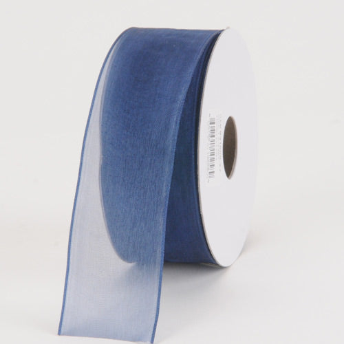Navy - Organza Ribbon Thin Wire Edge 25 Yards - ( 1-1/2 inch | 25 Yards )