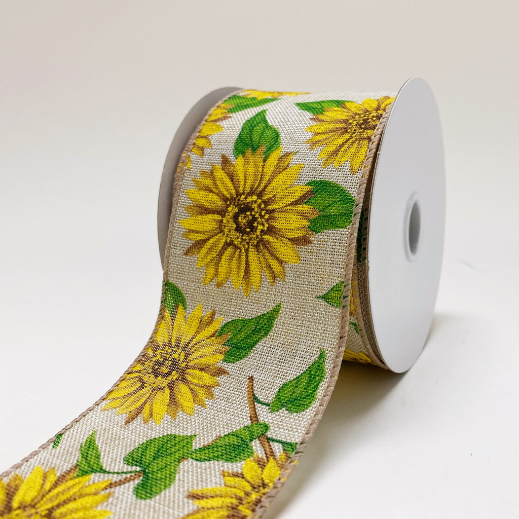 Natural Linen Sunflowers Ribbon ( 2-1/2 Inch x 10 Yards ) - 410244015