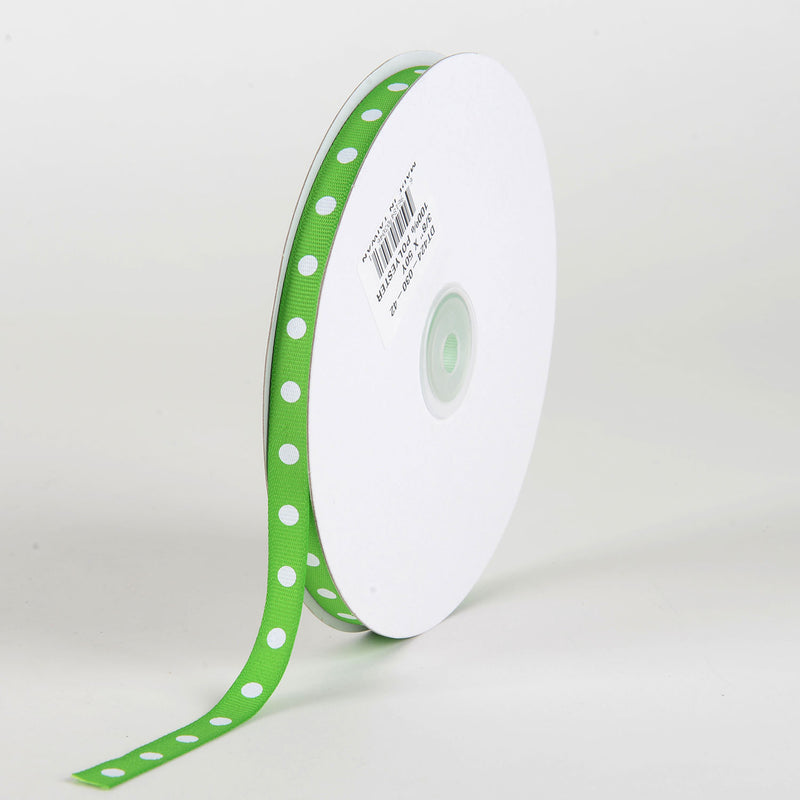 Grosgrain Ribbon Polka Dot Apple Green with White Dots ( W: 3/8 inch | L: 50 Yards )
