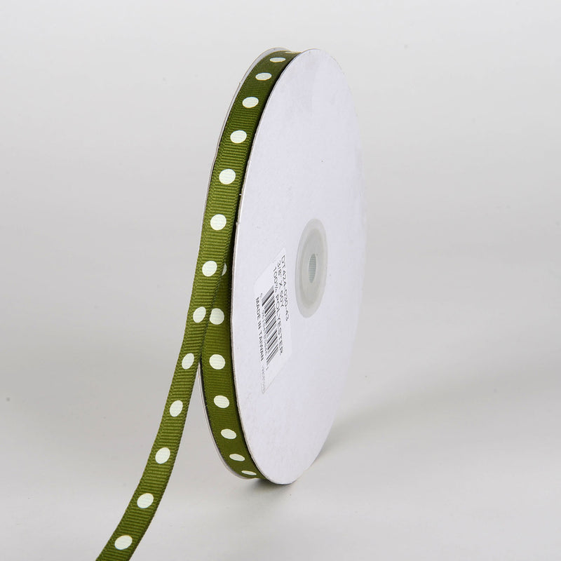 Grosgrain Ribbon Polka Dot Old Willow with White Dots ( W: 3/8 inch | L: 50 Yards )