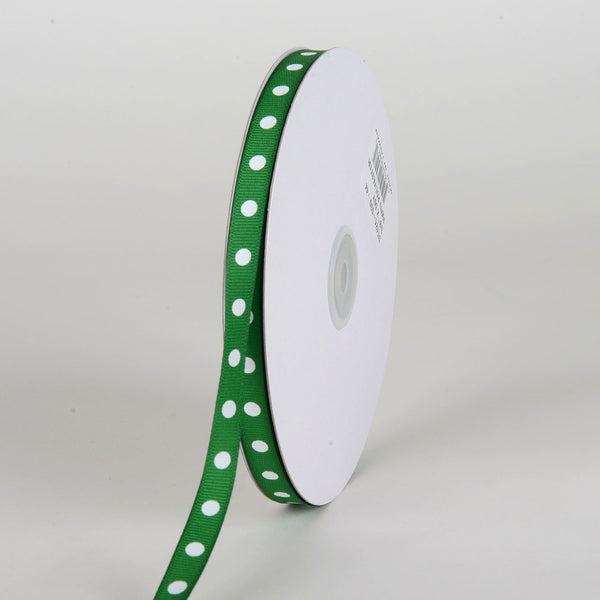 Grosgrain Ribbon Polka Dot Emerald with White Dots ( W: 3/8 inch | L: 50 Yards )