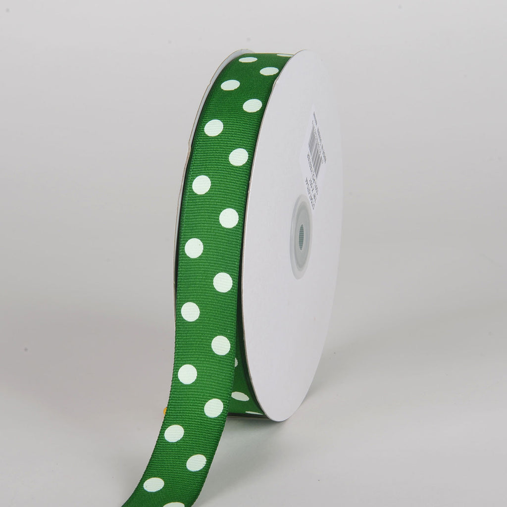 Grosgrain Ribbon Polka Dot Emerald with White Dots ( 7/8 inch | 50 Yards )