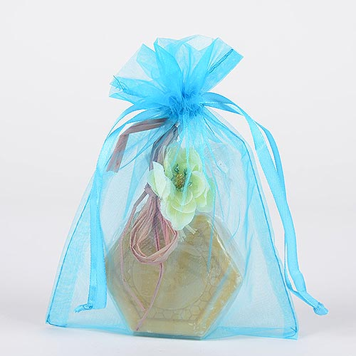 Turquoise - Organza Bags - ( 6x15 Inch - 10 Bags )