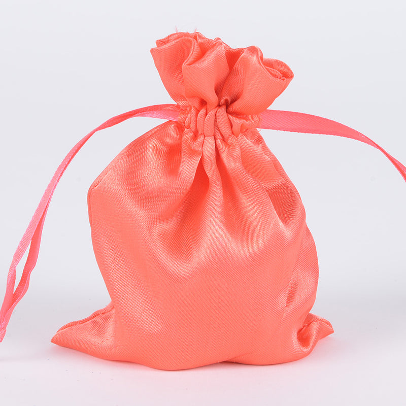 Coral  - Satin Bags - ( 3x4 Inch - 10 Bags )