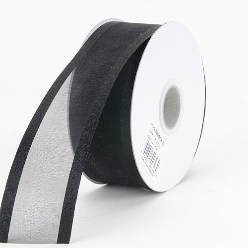 Black - Organza Ribbon Two Striped Satin Edge - ( 1-1/2 inch | 25 Yards )
