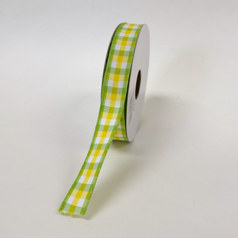 Green Yellow White Classica Chex Ribbon - (5/8 Inch x 10 Yards )