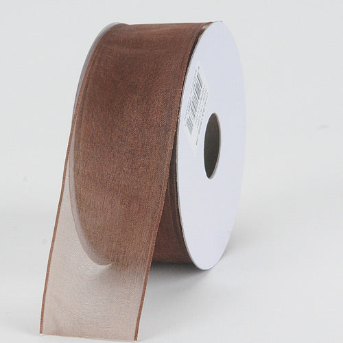 Chocolate - Organza Ribbon Thin Wire Edge 25 Yards - ( 1-1/2 inch | 25 Yards )