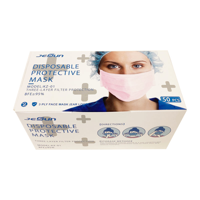 3-Ply Disposable Protective Pink Face Mask - 1 Box - 50 Masks