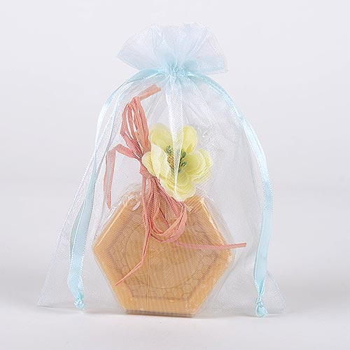 Light Blue  - Organza Bags - ( 6 x 9 Inch - 10 Bags )