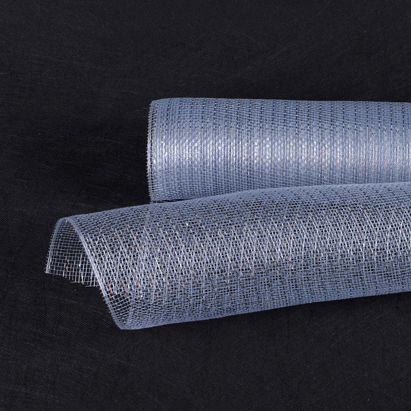 Silver  - Deco Mesh Wrap Metallic Stripes -  ( 21 Inch x 10 Yards )