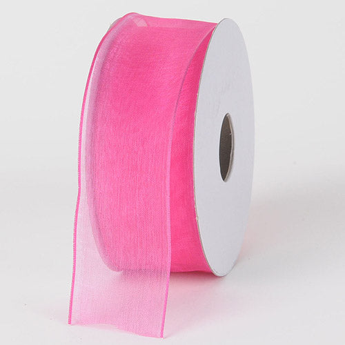 Hot Pink - Organza Ribbon Thin Wire Edge 25 Yards - ( W: 5/8 inch | L: 25 Yards )