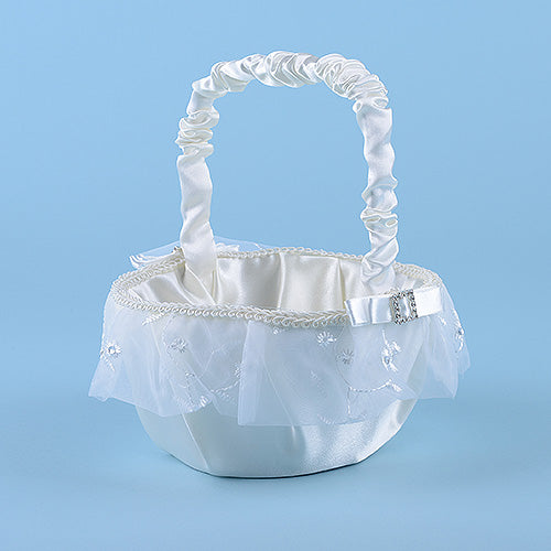 Flower Girl Baskets Ivory ( 9 Inch )