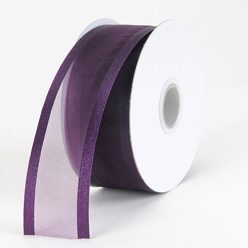 Plum - Organza Ribbon Two Striped Satin Edge - ( W: 3/8 inch | L: 25 Yards )