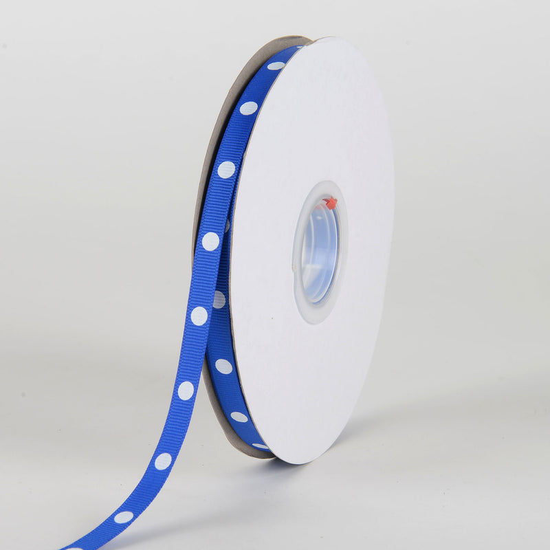 Grosgrain Ribbon Polka Dot Royal Blue with White Dots ( W: 3/8 inch | L: 50 Yards )