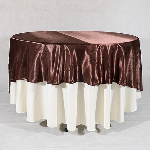 "Chocolate - 70"" Satin Round Tablecloths - ( 70 Inch )"