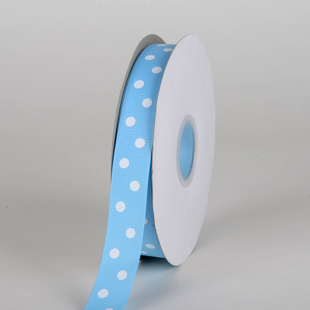 Grosgrain Ribbon Polka Dot Baby Blue with White Dots ( 7/8 inch | 50 Yards )