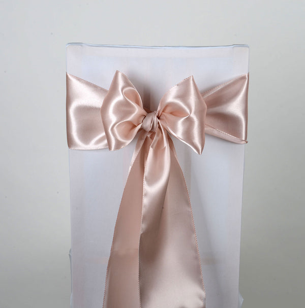 Blush - Satin Chair Sash - ( Pack of 10 Piece - 6 inches x 106 inches )