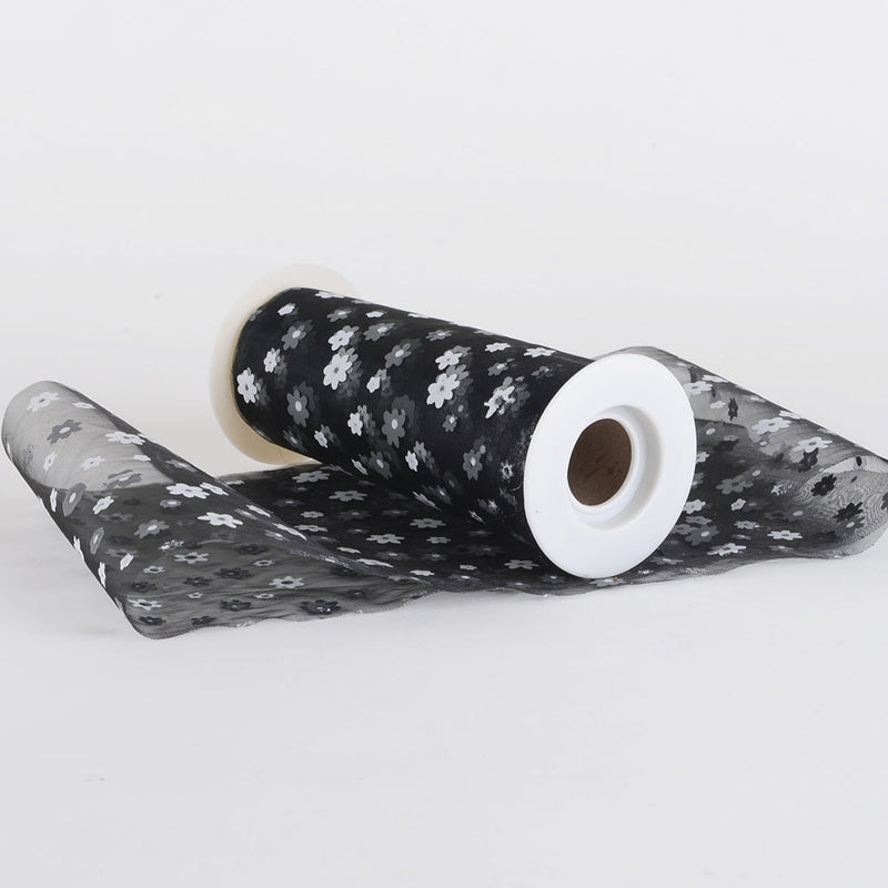 "Black - 6"" Organza Flower Roll - ( 6 Inch