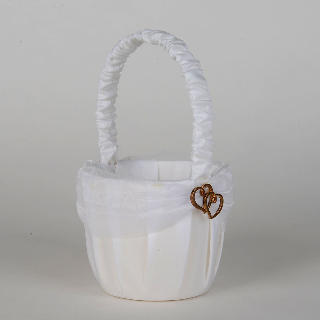 Flower Girl Baskets White with Gold ( 7 Inch Tall ) - 5634S