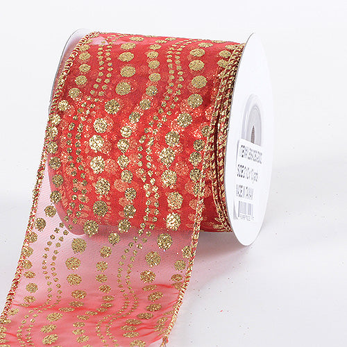Christmas Ribbon Red Gold ( 2-1/2 Inch x 10 Yards )