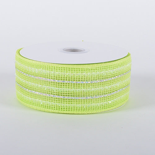 Lime - Laser Metallic Mesh Ribbon - ( 4 Inch x 25 Yards )