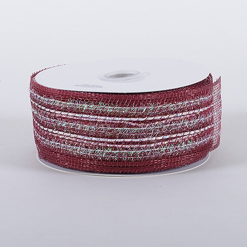 Burgundy - Laser Metallic Mesh Ribbon - ( 4 Inch x 25 Yards )