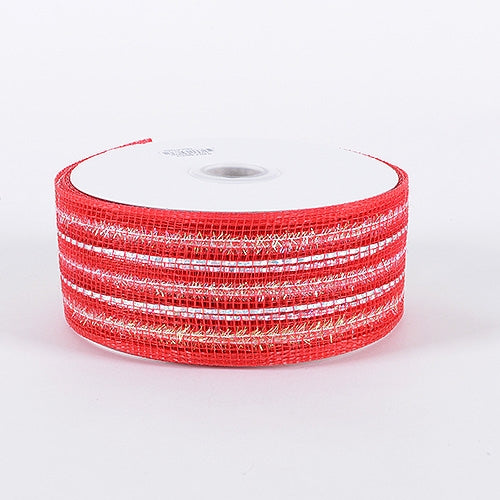 Red - Laser Metallic Mesh Ribbon - ( 4 Inch x 25 Yards )