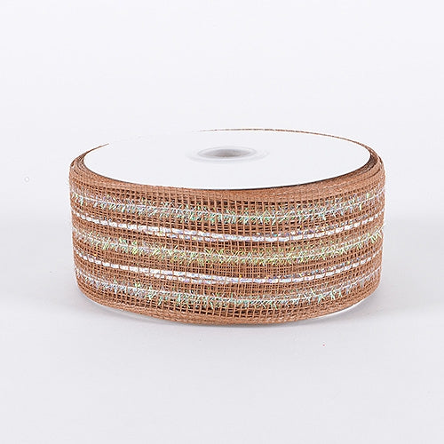 Chocolate - Laser Metallic Mesh Ribbon - ( 4 Inch x 25 Yards )