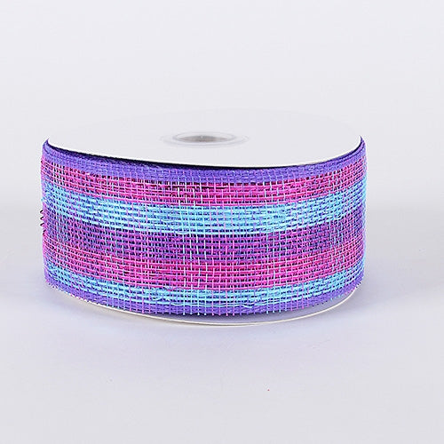 Purple Pink - Laser Metallic Mesh Ribbon  - ( 2-1/2 inch x 25 Yards )