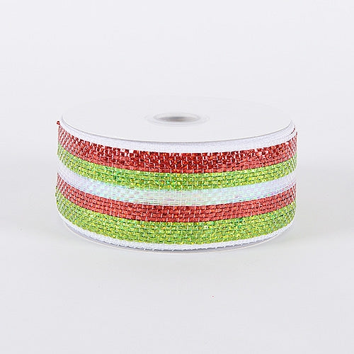 Green Red - Laser Metallic Mesh Ribbon - ( 2-1/2 inch x 25 Yards )