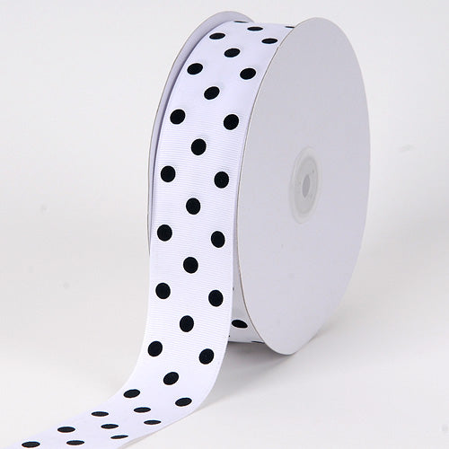 Grosgrain Ribbon Polka Dot White with Black Dot ( 1-1/2 inch | 50 Yards )