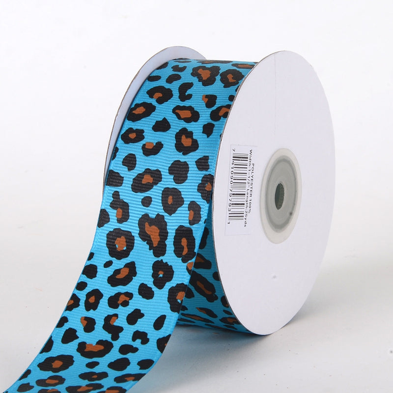 Turquoise - Grosgrain Leopard Print Ribbon - ( W: 1-1/2 inch | L: 25 Yards )