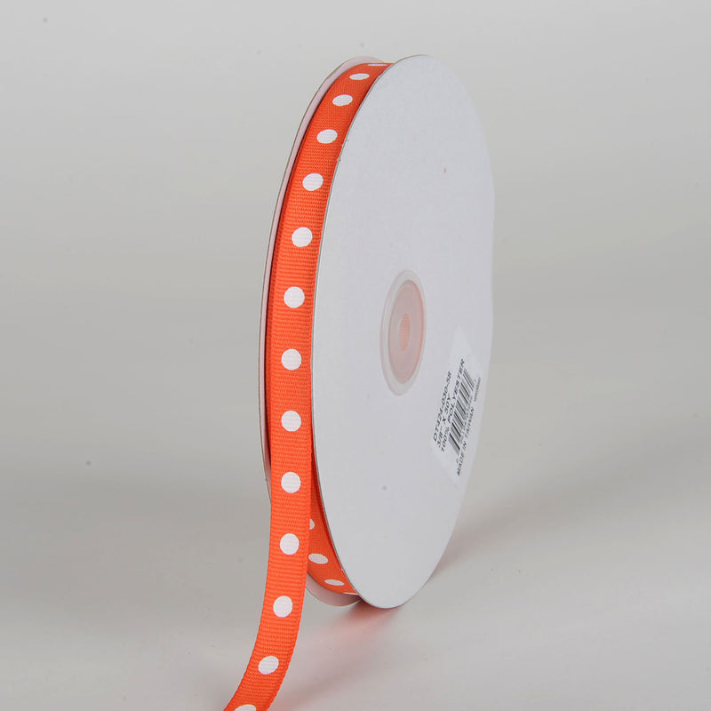 Grosgrain Ribbon Polka Dot Orange with White Dots ( W: 3/8 inch | L: 50 Yards )
