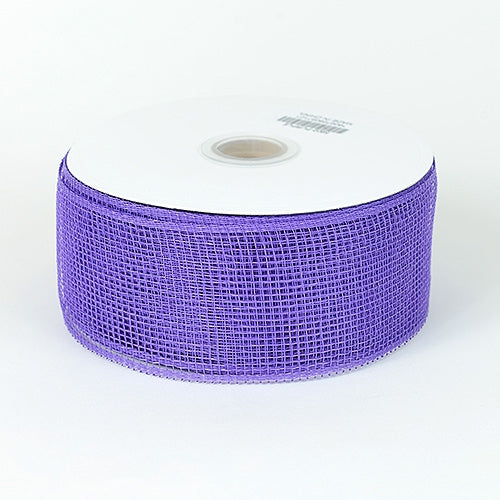 Purple - Floral Mesh Ribbon - ( 2-1/2 inch x 25 Yards )