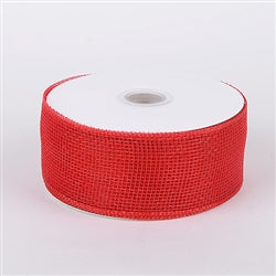 Red - Floral Mesh Ribbon - ( 4 Inch x 25 Yards )