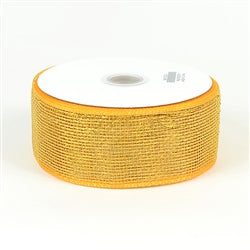 Light Gold - Floral Mesh Ribbon - ( 2-1/2 inch x 25 Yards )