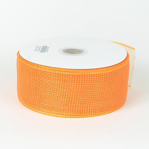 Orange - Floral Mesh Ribbon - ( 2-1/2 inch x 25 Yards )