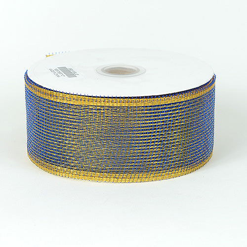 Royal Blue with Gold - Floral Mesh Ribbon - ( 4 Inch x 25 Yards )