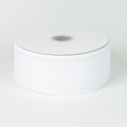 White - Floral Mesh Ribbon - ( 4 Inch x 25 Yards )