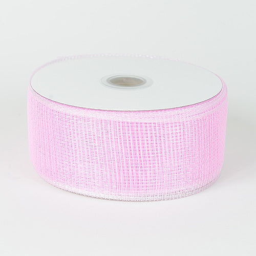 Pink - Floral Mesh Ribbon - ( 4 Inch x 25 Yards )