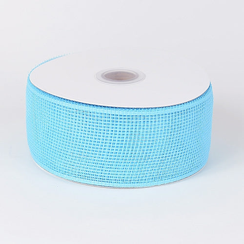 Light Blue - Floral Mesh Ribbon - ( 4 Inch x 25 Yards )