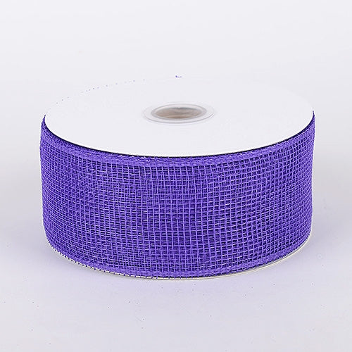 Purple - Floral Mesh Ribbon - ( 4 Inch x 25 Yards )