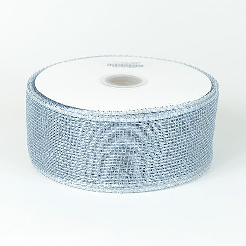 Silver - Floral Mesh Ribbon - ( 4 Inch x 25 Yards )