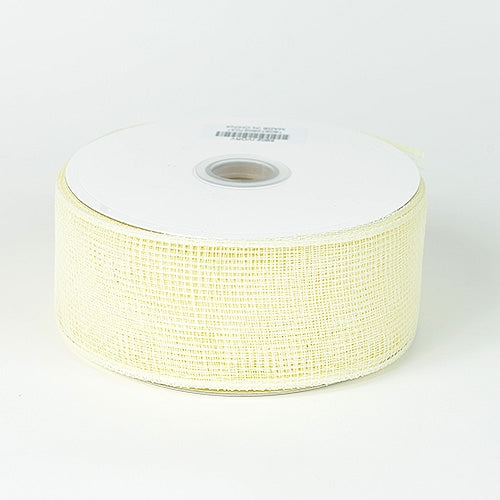 Ivory - Floral Mesh Ribbon - ( 4 Inch x 25 Yards )