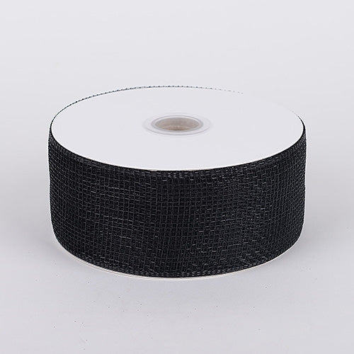 Black - Floral Mesh Ribbon - ( 4 Inch x 25 Yards )