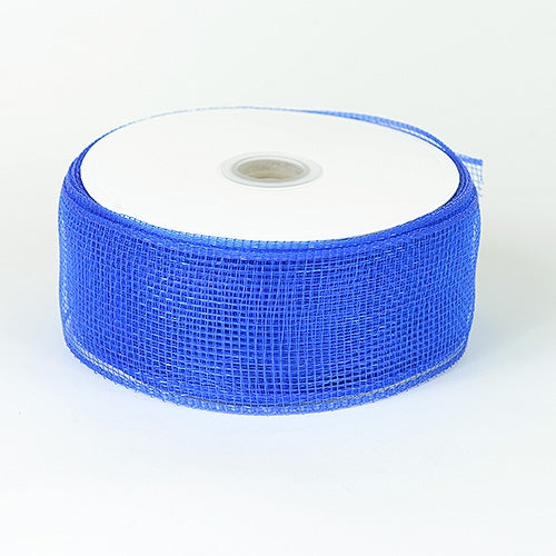 Royal - Floral Mesh Ribbon - ( 4 Inch x 25 Yards )