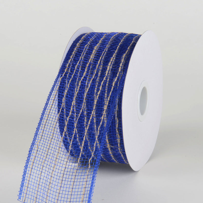 Royal Blue - Deco Mesh with Jute Burlap Stripes - ( 2-1/2 Inch X 20 Yards )