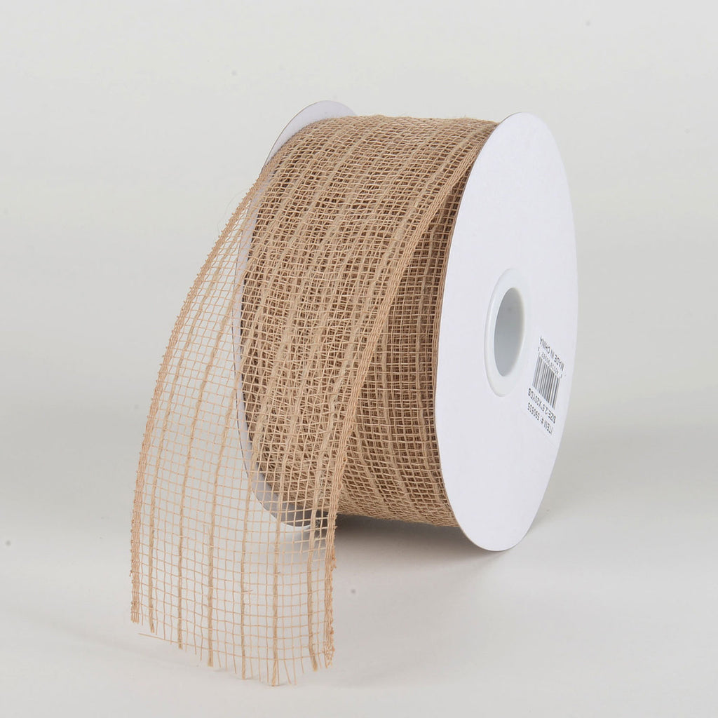 Natural Burlap - Deco Mesh with Jute Burlap Stripes - ( 2-1/2 Inch X 20 Yards )