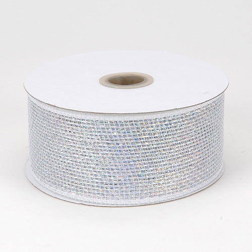 White - Metallic Deco Mesh Ribbons - ( 2.5 inch x 25 yards )